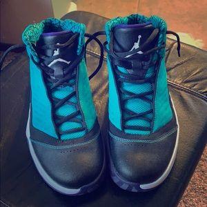 Kids Nike High Top Jordan's - Teel/Purple/Black